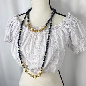 Noonday Chunky Beaded Necklace Long Blue Gold
